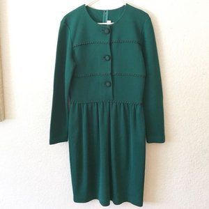 Vintage 80s Button Up Long Sleeve Secretary Dress